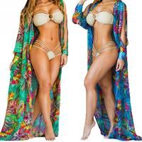 Women Summer Beach Wear Floral Bikini Cover Up Slit Sleeve Irregular Chiffon Cardigan Suncare Long Open Shirt 3