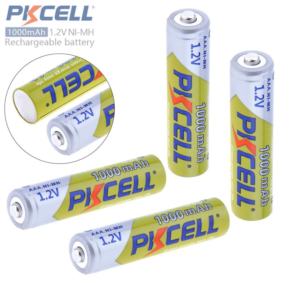 4 stücke PKCELL 1,2 v 1000 mah Ni-Mh AAA Batterie 3A 1,2 Volt AAA Akku mit Batterien Box