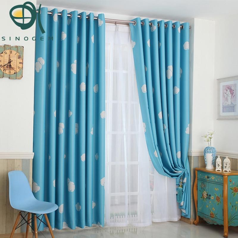 Hot Sale,New Korean Pastorale Style Blue Sky And White Cloud Design Blue  Blackout Curtain
