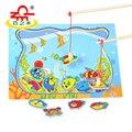 Jogo De Pesca Magnética de madeira Brinquedos Puzzle Catroon com Vara de Pesca Brinquedos Educativos para Crianças