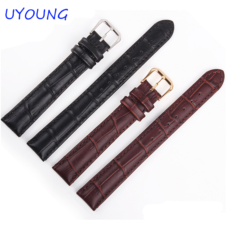 New Black Brown Genuine Leather Watch Band 15mm 17mm High Quality Women Bracelet Strap