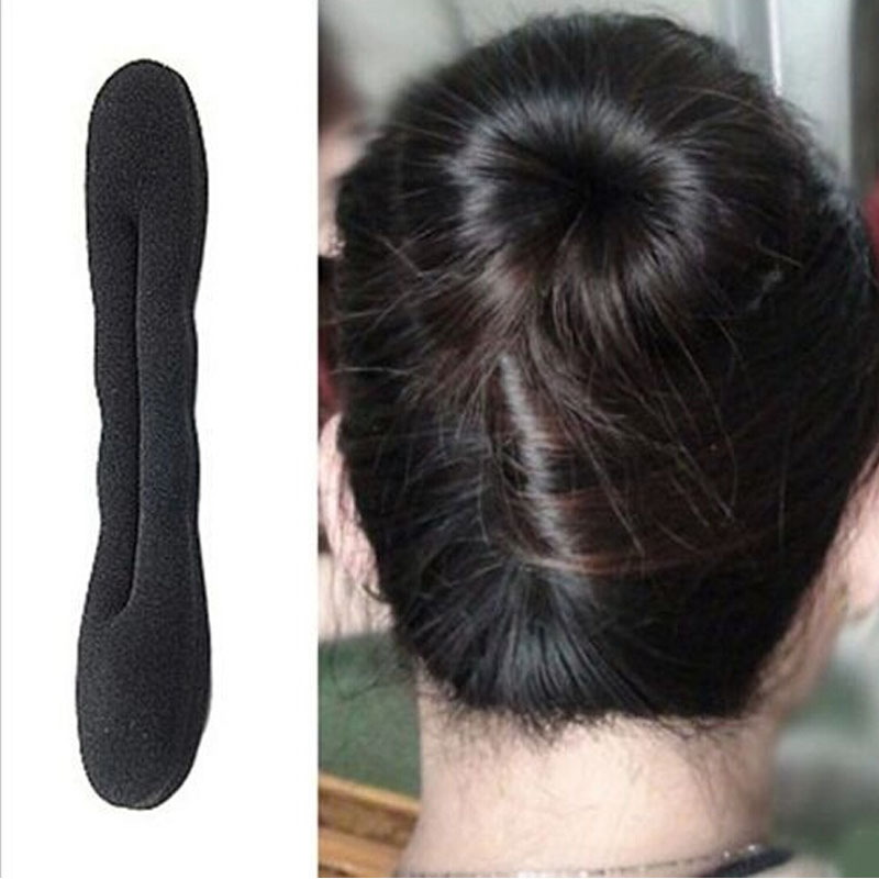 Hot Sale 1Pc Women Fashion Cute Magic Sponge Clip Black Bowknot Curler Tool Hair Styling Bun Maker Hair Twist hot sale creative style s size women s hair tool