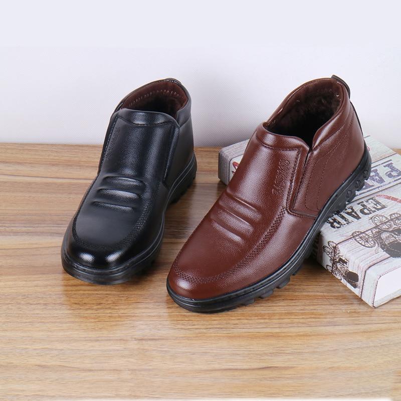 Dwayne Männer Schuhe Winter Neue Casual Leder Papa Schuhe Plus Samt Warme Schnee Stiefel Nicht-slip Männer Baumwolle Schuhe Größe 38-43 Ausgereifte Technologien