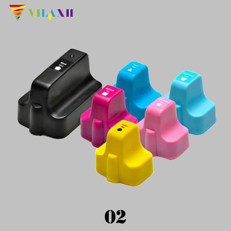 Vilaxh 02 Compatible Ink cartridge Replacement for HP 02 For Photosmart C6180 8250 3110 3210 3310 D7160 C5180 D7145 printer in Ink Cartridges from Computer Office