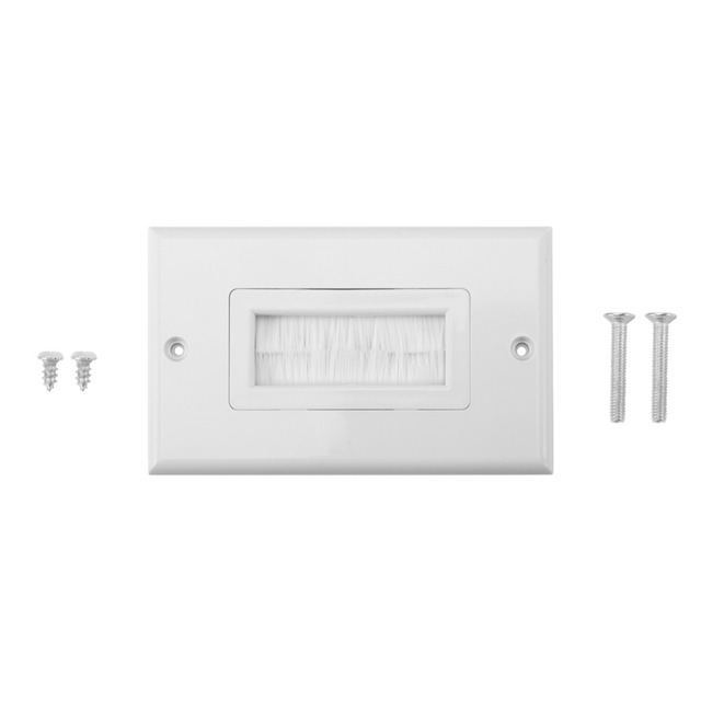 Brush Wall Plate Plastic Anti-dust Brush Cable Wall Plate Port Insert Cover Outlet Mount Multimedia Panel 3 types painel