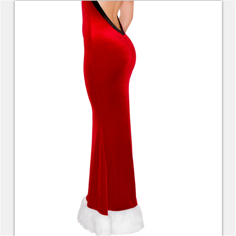 2ed708e3463 2018 nouvel an Sexy rouge Furry Slim robe licou joyeux noël Costumes pour  adulte fille robe fantaisie noël soirée robe de soirée