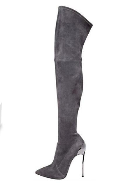New High Heel Boots for Woman Grey Suede Thin Heels Over the Knee Boots Sexy Pointed Toe Long Boots Thin Heels Boots new fashion pointed toe over the knee boots gold metallic thin heels woman boots sexy thigh high boots black suede boots