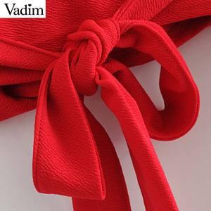 Image 5 - Vadim phụ nữ bow tie chữ thập V neck crop tops sash flare tay áo ngắn bọc áo sơ mi giản dị đỏ trắng tops blusas LA967