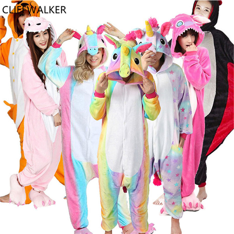 Dropshipping Halloween Adult Anime Sets Cartoon Sleepwear Women Pajamas Flannel Animal Panda Horse Pajamas Winter Warm Hooded