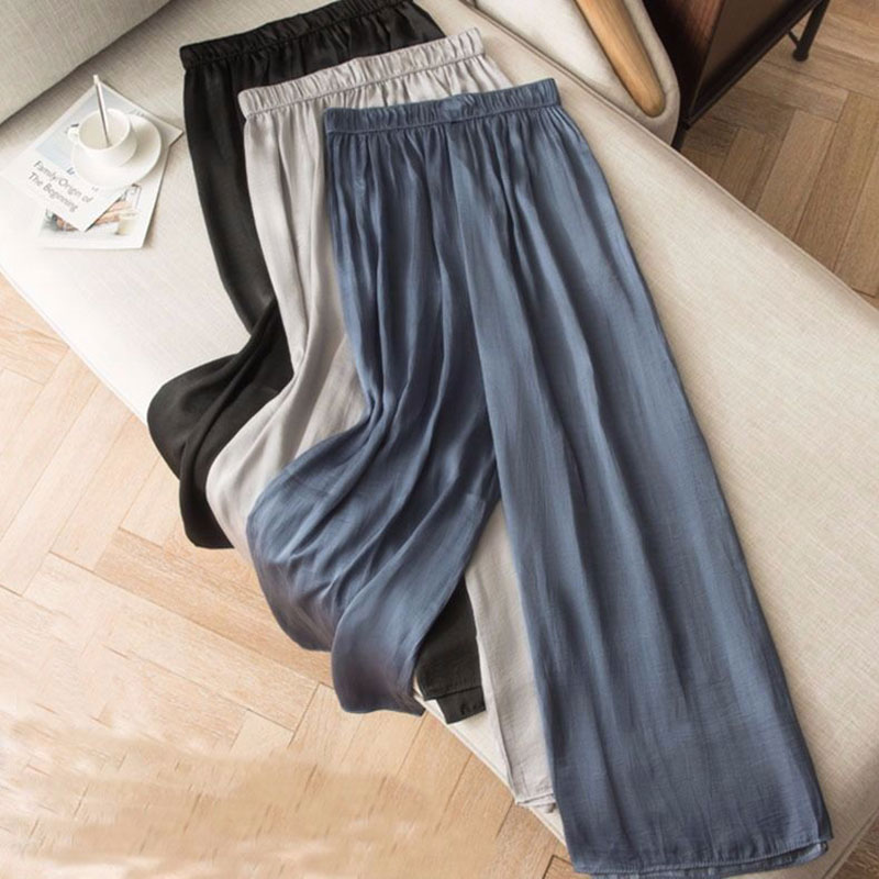 F&je Spring Summer Korea Fashion Women   Pants   Plus Size Loose Casual Silk   Wide     Leg     Pants   Elastic Waist Thin Chiffon Trousers D54