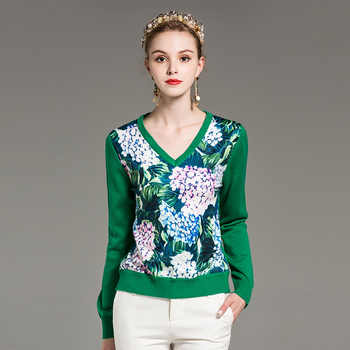 High quality new autumn/winter designer fashion sweater Women's long-sleeved v-neck printed green casual sweater - DISCOUNT ITEM  15% OFF All Category