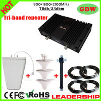 Work 800m2 Tri Band Mobile Phone Signal Repeater GSM 900mhz DCS 1800MHZ WCDMA 3G 2100MHZ Repeater