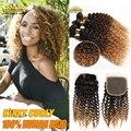 Ombre Brasileiro Virgin Cabelo Encaracolado Kinky Com Fechamento Ombre Humano cabelo 3 Bundles Com Fechamento Tecer Encaracolado Afro Crespo Com fechamento