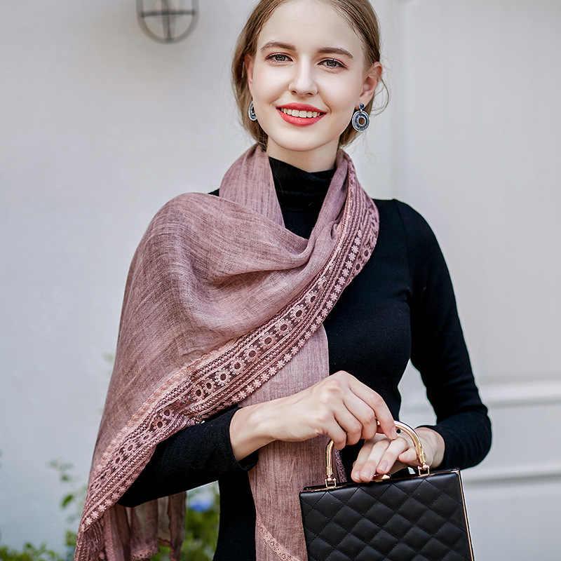 Весна и осень, новый стиль, корейский стиль, кружевная кромка шаль, хлопок и пеньковая Взрывная вышивка кольцо для шарфа, женский шарм