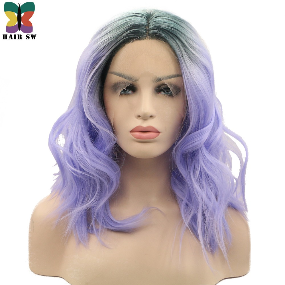 HAIR SW Medium Wavy Lob Lace Front Wig Ombre Lavender Purple With Smoky Gray Roots Middle Part Heat Resistant Long Bob For Women