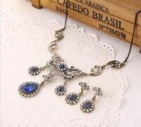 Vintage bak Çiçek Üçlü Damla Kraliyet Mavi Türk Takı Setleri Altın Ton Kristal Telkari Açık Kolye Armut Bırak Küpe Set
