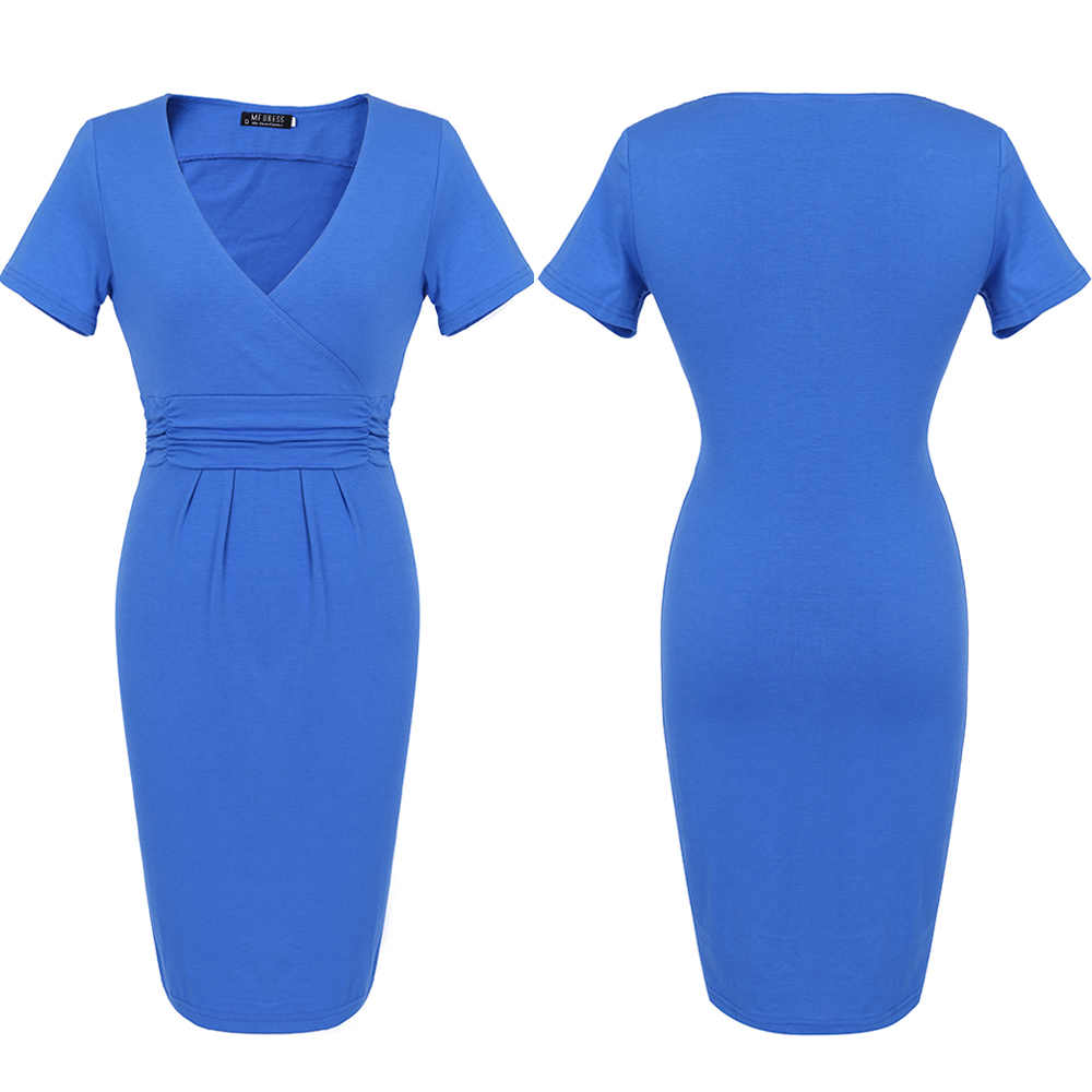 ... FEIBUSHI Summer Dress Women Big Size Short Sleeve V neck Work Office  Slim Casual Bodycon Pencil ... 480a64e8c3df