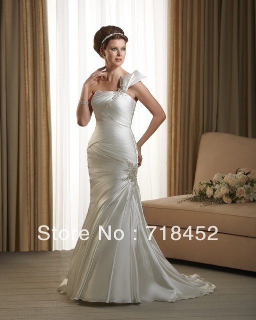 New Fashion Sheath Country Wedding Dress Pliques Beaded One Shoulder Stain Lace Up Free Shipping Bn33