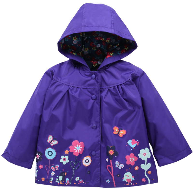 Raincoat 12-Months Outerwear Jackets Hooded Long-Sleeve Girls Autumn Waterproof for Kids