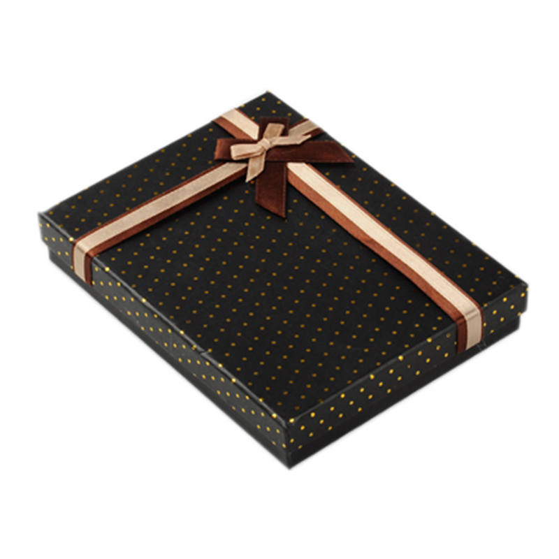 2pcs 16x12x2.5cm Black Rectangle Cardboard Jewelry Christmas Xmas Gift Birthday Boxes With Velvet Inside & Satin Ribbon Outside