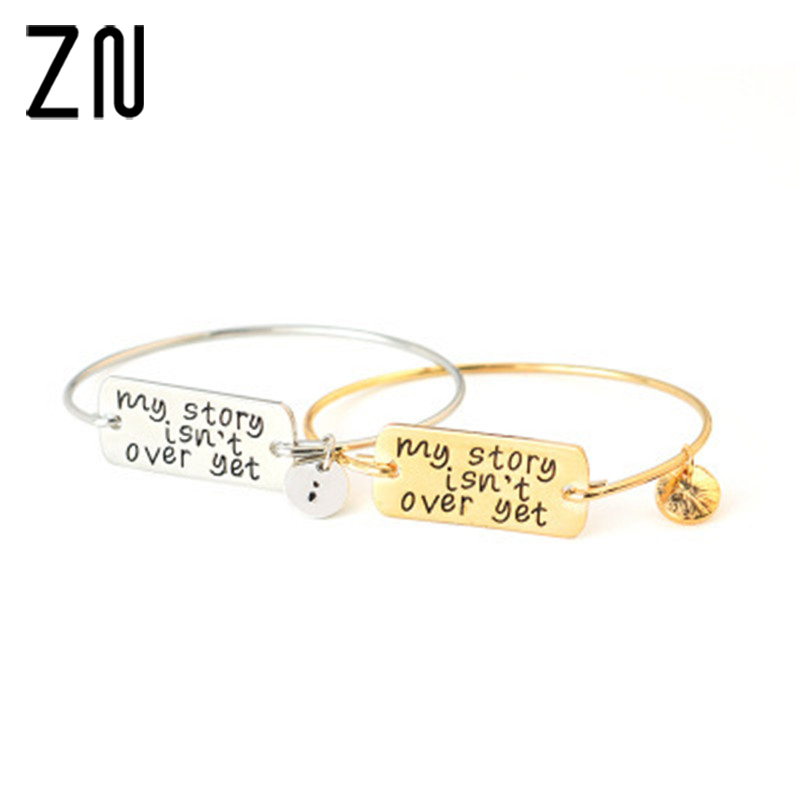 ZN 2018 New Classic Letter Bracelet Lettering Inspirational Gold Bracelet my story isn't over yet
