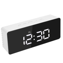 Новое поступление цифровой зеркальный светодиодный Будильник ночные огни термометр электронные настольные часы прямоугольник многофункциональные настольные часы