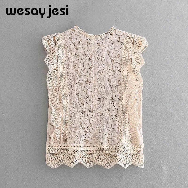 2019 estilo inglés elegante encaje ahuecado hacia fuera mujer blusa camisa Sexy bordado sin mangas blusa verano transparente Superior Femenina