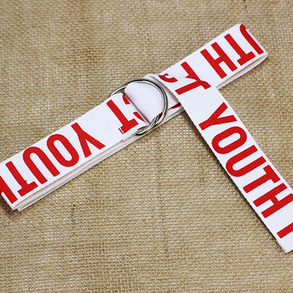 Canvas Webbing Wear Resistant Women Belt Decorative D-Ring Buckle Accessories Wide Adjustable Letter Print Waist Band Adult
