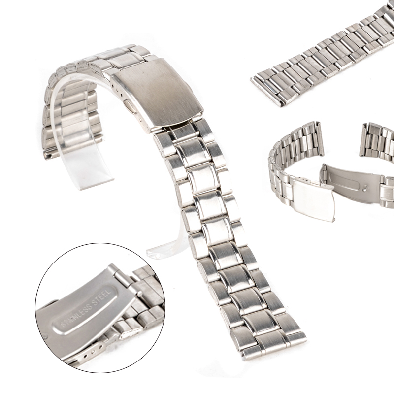 Luxury Watch Band 14/16/18/20/22mm Stainless Steel Watch Bands Strap For Wristwatch Double Clasp Bracelet Silver цена и фото