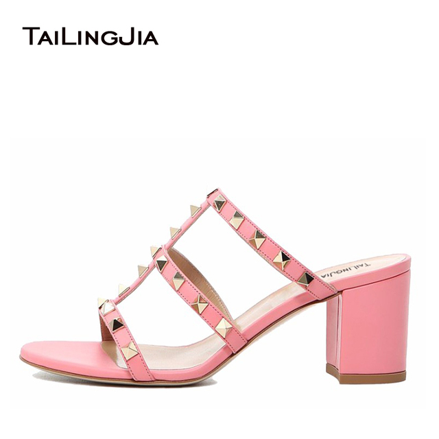 3fc7a21fb 2017 Women Studded Middle Heel Pink Sandals Ladies Black Yellow Block Heel  Mules Rivets Studs Summer Chunky Heel Shoes Plus Size