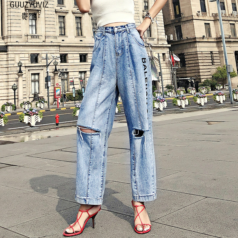 Más La Blue Ancha Jeans Suelta Cintura Otoño Pantalones Vintage Agujero  Algodón Impresión Guuzyuviz Invierno Denim Pierna Mujer ... 72fb68407660