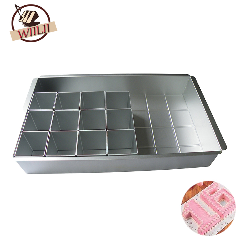 WIILII 1Set Aluminum DIY Cake Mold Alphabet Number Baking Pan For Chiffon Dessert Mousse