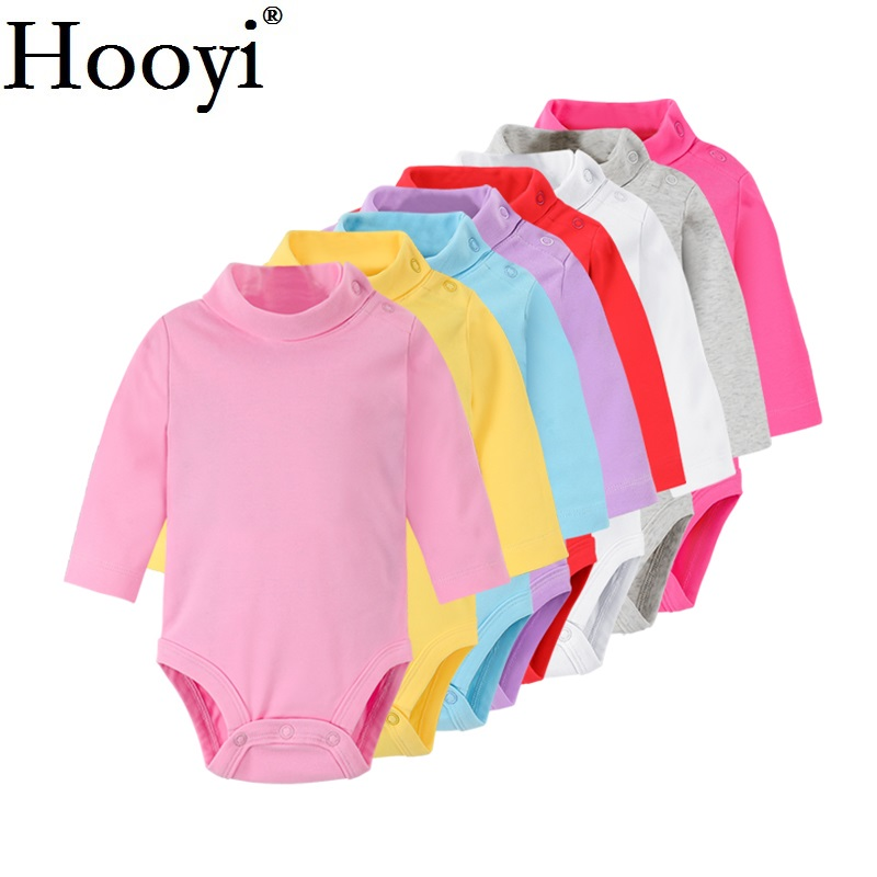 Solid Baby Girls Bodysuits 100% Cotton Soft Newborn Clothes Infant One-Piece Clothing Turtleneck Pajamas Sleep Shirts Tops Pant