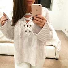 Casual Loose Lace Up Sweater 2017 New Spring Sweater Women V-Neck Flare Sleeve Long Sleeve Pullover Women Sweaters and Pullovers
