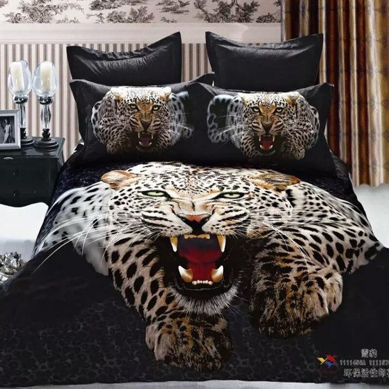 Lifelike 3d Animal Print Snow Leopard Men Bedding Set Queen Size 100%  Cotton Fabric Bed