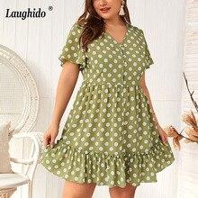 Laughido Plus Size Polka Dot V Neck Dress Women Ruffles Ruched Vestidos Beach Boho Elegant Dresses Slim Summer Party Robe Female недорго, оригинальная цена