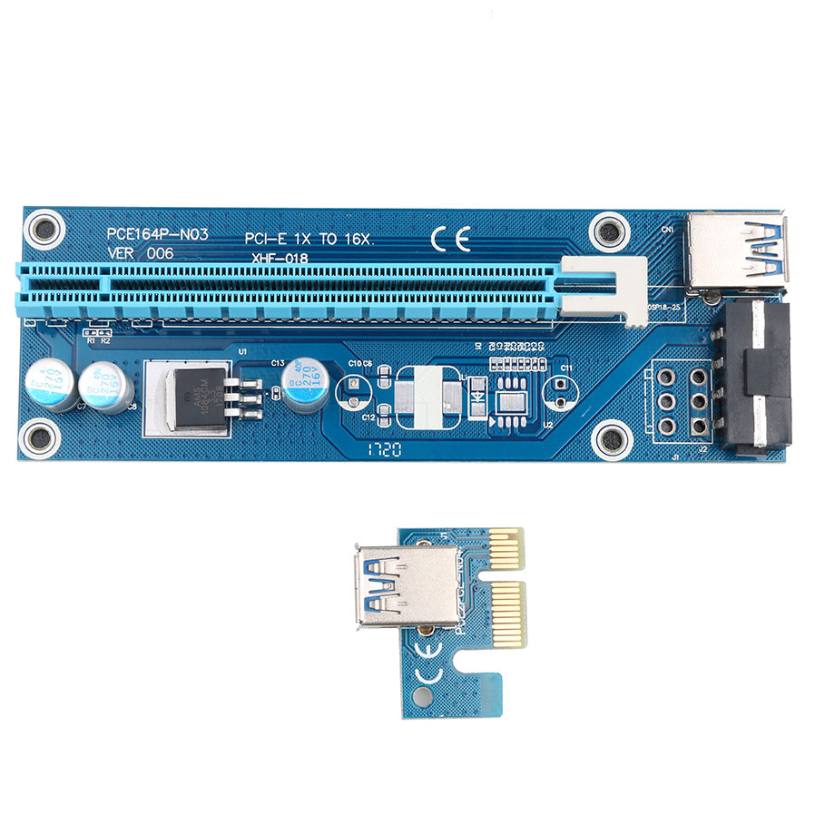 Buy PCI-E Express 1x 4x 8x 16x Extender Riser Card Adapter USB 3.0 SATA 15Pin Male to 6Pin Power Cable for BTC bitcoin mining device for only 9.27 USD