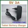 Ue eua Plug 5 V 3A para 2.5 mm / 2.5 x 0.7 mm para Tablet PC adaptador de alimentação com 90 de grau Real 3A