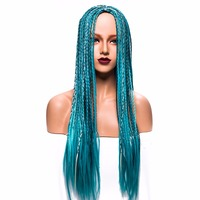 Long Straight Blue Color Braid Full Machine Made Synthetic Wig For Women