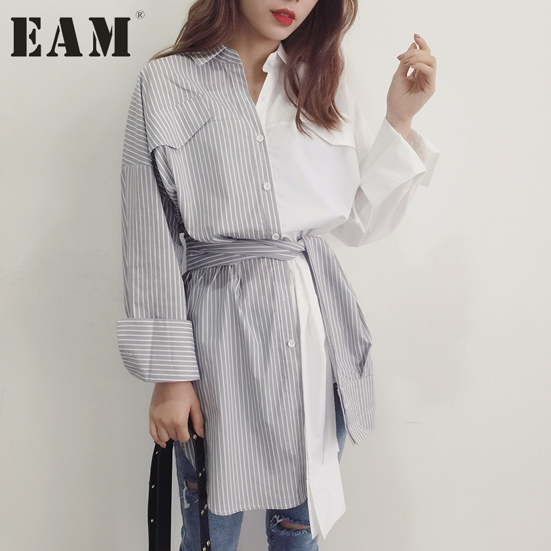 2017 Summer New Lapel Long Sleeve Hit Color Gray White Striped Shirt Women Fashion Tide All