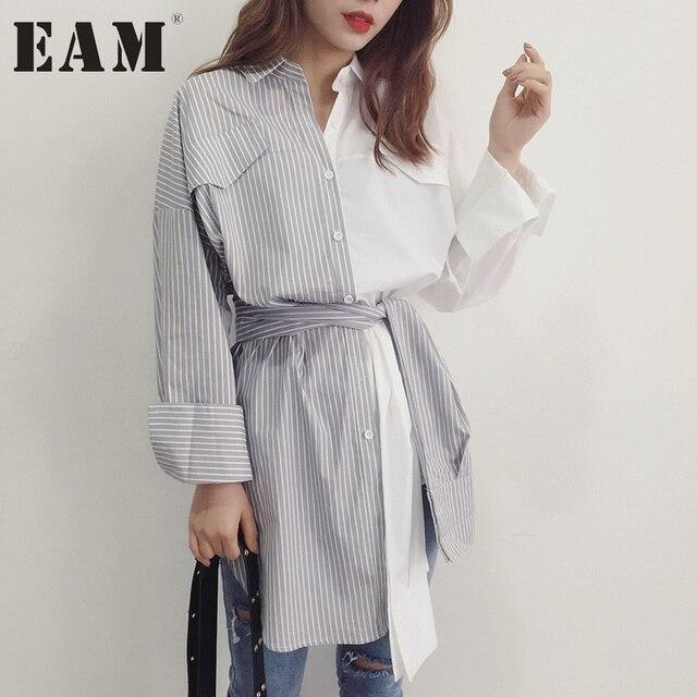 [EAM] Лето 2017 г. Новый нагрудные с длинным рукавом хит Цвет Серый Белый Рубашка в полоску Для женщин моды прилив универсальные Q257