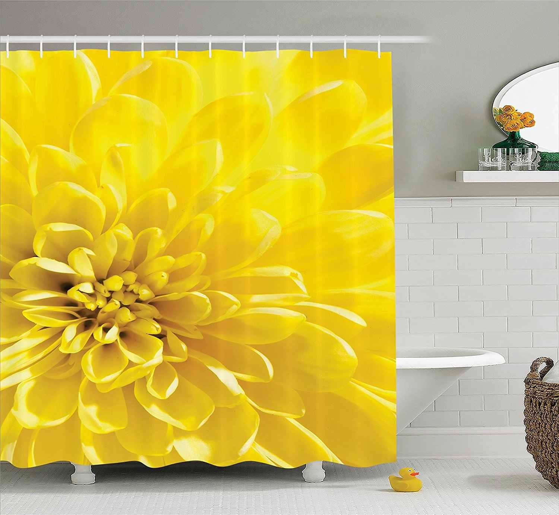 المنزل مشرق حيوية تزهر الشمس زهرة الزفاف النباتية الطبيعة الصورة البوليستر النسيج الحمام دش الستار الأصفر