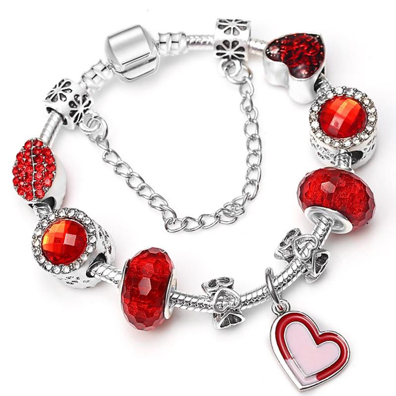 BAOPON Прямая поставка винтажные Подвески серебряного цвета браслеты для женщин DIY Кристальные бусины изящные браслеты для женщин Pulseira ювелирные изделия - Окраска металла: Type 21