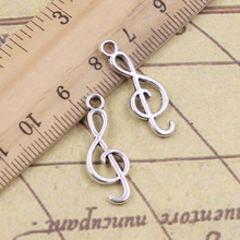 20pcs/lot Charms musical note 25x9mm Antique Silver Pendants Making DIY Handmade Tibetan Finding Jewelry for Bracelet