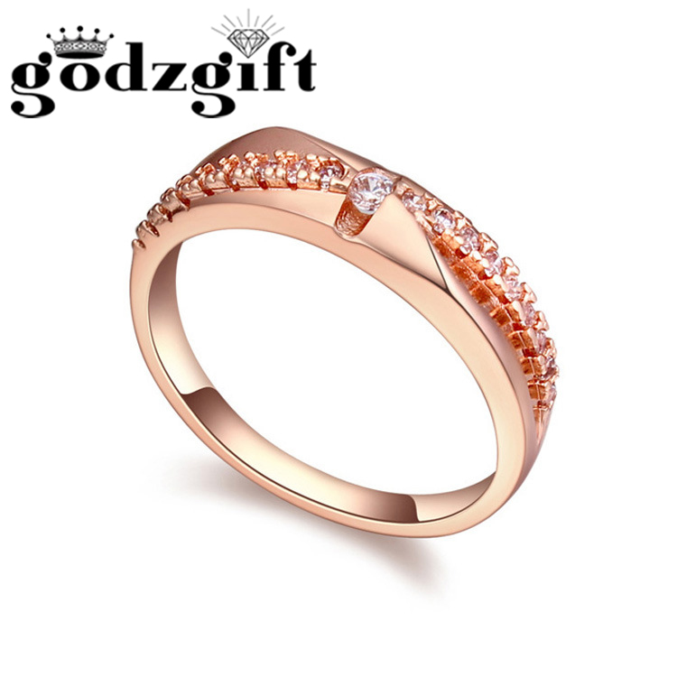 Godzgift Womens Simple Classic Wedding Finger Rings Lady Date Nail Ring Modern Crystal Jewelry Gifts New Fashion Romantic JR5029