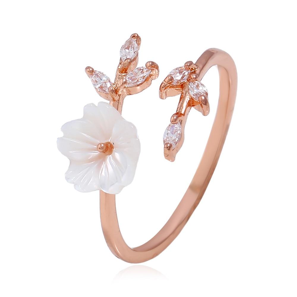 FGHGF Delicate Zircon Crystal Leaf Shell Flower Ring for Women Ladies Girls Rose Gold Color Finger Bague