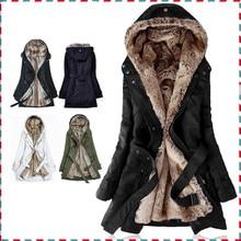 OLGITUM Thick Faux fur lining women's fur Hoodies winter warm long fur inside coat jacket cotton clothes thermal parkas AA1607