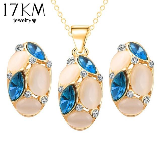 Brand Design Cute Opal Jewelry Sets Pendant Necklaces Earrings For Women Wedding Color Crystal Jewelry parure bijoux femme