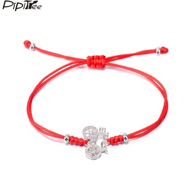 Pipitree Nostalgic Art Style CZ Bicycle Charm Bracelets for Women Student  Kids Customized Snake Knot Red 4744be36c0