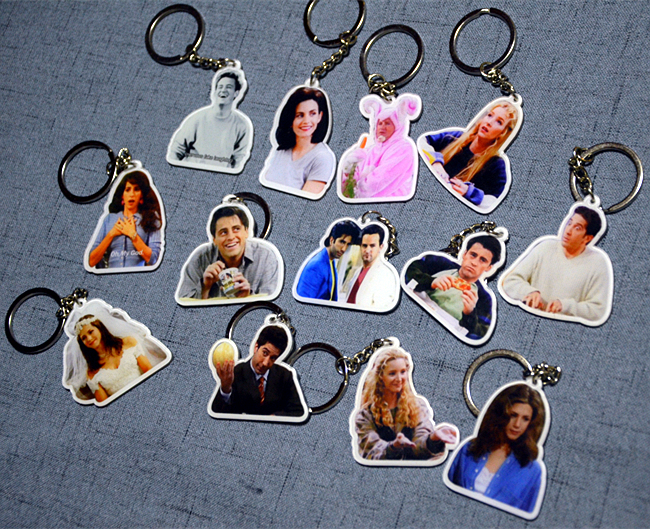 TV Series Friends Joey Rachel Chandler Collectible Acrylic Key Chains Key Ring Keychain Charms Pendant Accessories Jewelry Gift